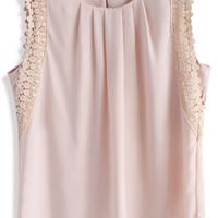 Pleats and Posies Chiffon Top in Nude Pink S/M