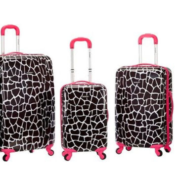 F195-PINKGIRAFFE 3Pc Safari Polycarbonate/Abs Upright Luggage Set