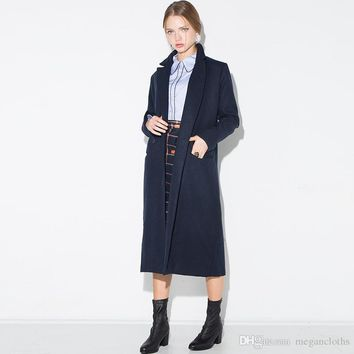 Navy Warm Winter Coat Wool Blended Women Turndown Long Coat Collar Female Casual Double Breasted Jackets Outwears