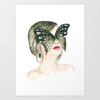 Butterfly Beauty, watercolor portrait  Art Print by Koma Art