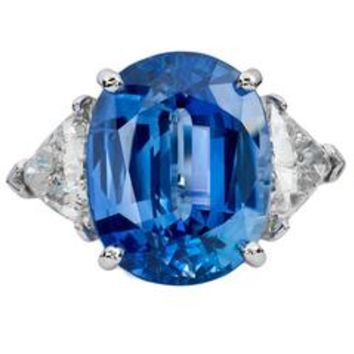 H & H 3.65 Carat Ceylon Sapphire and Old Mine Cushion Cut Diamond Ring
