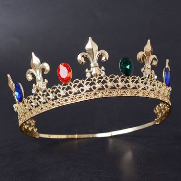 Snuoy King Crown Blue Red Crystal Adjustable Tiara Gold Medieval Full Round Men's Crown ping