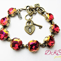 NEW, Scarlet Lemon Shimmer, Swarovski 12mm Square Link Bracelet, Cushion Cut, Adjustable, Charms Included, DKSJewelrydesigns FREE SHIPPING