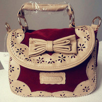 JAPAN Liz Lisa Lady Vintage Ribbon Lace Holdall Handbag Satchel Suede Bag