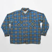 Vintage 60s PLAID SHIRT / 1960s Men's Soft Thin Printed Flannel  Cotton Work Shirt XL