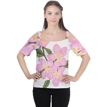 Pink Flowers Cutout Shoulder Tee