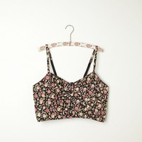 Free People Printed Button Front Corduroy Crop Bra