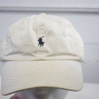 90s Polo Ralph Lauren hat cap STAINED leather strap