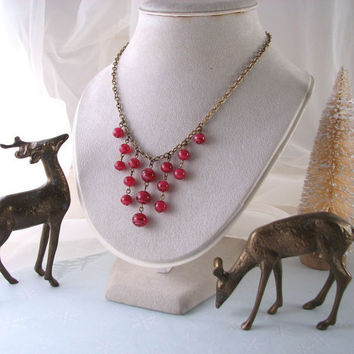 holiday sale Christmas berry garland necklace by shadowjewels