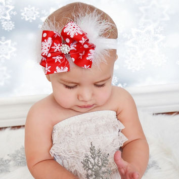 Red Bow Baby Christmas headbands Baby feather Headwear Infant Rhinestone Toddler Girl New Year Hair Band Accessories