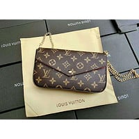 LV classic chain bag shoulder bag envelope bag three-piece