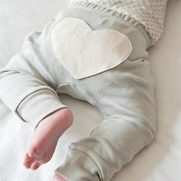 Toddler Infant Baby Boy Girl Clothes Pants Cute Heart Love Pattern Cotton Bottom Pink Pants Boys Girls Casual Loose