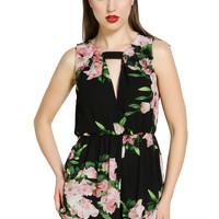 New Open Back Chiffon Flower Rompers Women's Short Jumpsuit Summer Cute Overalls Playsuits_Jumpsuits_Women's Bottoms_Women_The Latest Trends & Fashion Clothing For Women Online Store-www.dressin.com