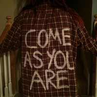 Come as you are Nirvana lyrics painted flannel grunge made to order