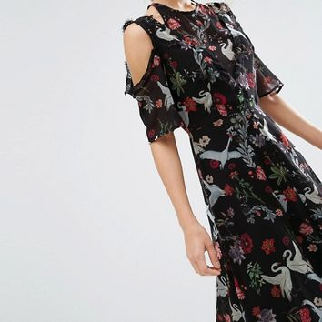 ASOS Midi Dress with Cold Shoulder and Lace Detail in Black Swan Print at asos.com