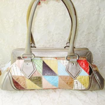 Leather Patchwork Purse Vintage Brazil Leather Boho Rainbow Multi Color Gray Silver Top Handles Handbag Zip Up w Pockets Gold Satin Lining