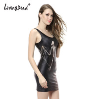 Living Dead Black White Skeleton Skull Ribs Print Women Mini Bodycon Hot Sexy Party Club Summer Tank Dress Sun dress for Woman