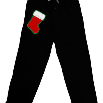 Cute Faux Applique Christmas Stocking Adult Lounge Pants - Black by TooLoud