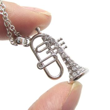 Trumpet Instrument Shaped Rhinestone Pendant Necklace in Silver   For Music Lovers