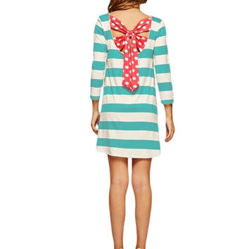 Back for More Stripes and Polka Dot Tunic Dress (Aqua/Coral)