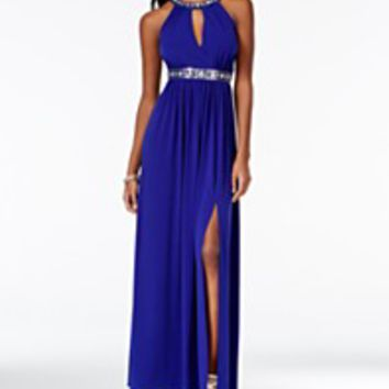 BCX Juniors' Embellished Cutout Gown with Side Slit | macys.com