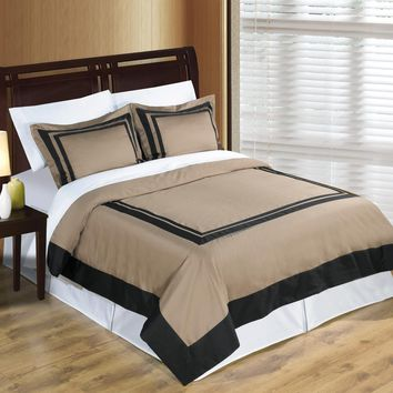 Wrinkle Free Combed cotton Hotel Taupe/Black Duvet cover set