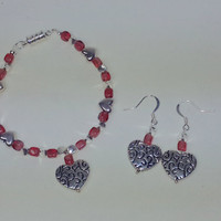 Ornate Silver Heart Bracelet and Earrings