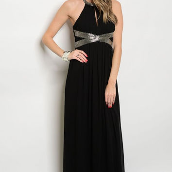 * BLACK BEADED GOWN DRESS