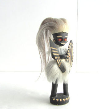 Vintage African Tribal Warrior Statuette. Hand Carved Painted Wood Figurine Hair Seed Eyes
