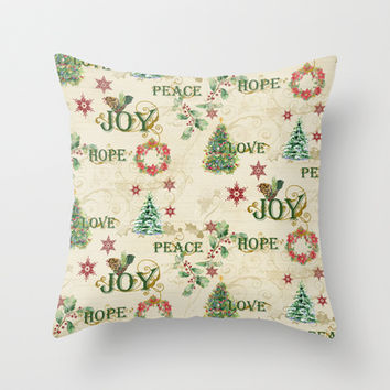Christmas Love Joy Peace Collage Trees n Wreath Throw Pillow by Audrey Jeannes