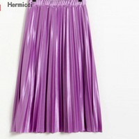 Hermicci Women Spring Summer Silk Pleated Skirt High Waist Pink Metallic Look Glitter Skirt Midi Skirts For Women Jupe Tulle