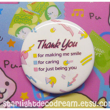 "TWO Thank You 1.75"" Button Badge Pin for Happy, Cute, Kawaii Style"