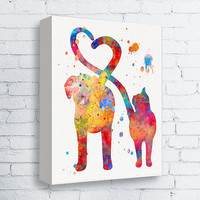 Cat and Dog Art, Pet Lover Gift, Veterinarian Gift, Gallery Wrapped Canvas, Watercolor Cat and Dog, Canvas Print, Animal Wall Art, Colorful