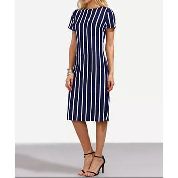 Fashionable Sexy New Vertical Stripe Slimming Elastic Round-collar Dress