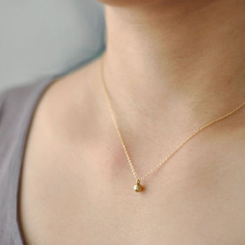 Orb - small antique brass round ball sphere on gold fill chain - simple everyday jewelry - edor