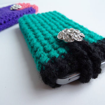Crochet Sparkly Bling Phone Case - Phone Cozy - Phone Cover - Phone Pouch - iPhone Case - Galaxy Case
