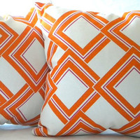 "Decorative Designer Pillow -Orange, Fuschia and white - ""18x18"" pillow cover"