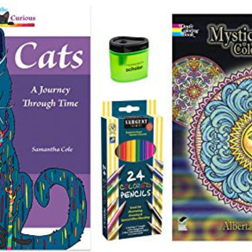 Sargent Art (24) Colored Pencils, Prismacolor Pencil Sharpener, and 2 Adult Coloring Books, Cats: A Journey Through Time and Dover Creative Haven Mystical Mandala, (Gift Bundle of 4 Items)