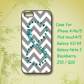 Hakuna Matata in Grey Chevron - Samsung Galaxy S4 case, Samsung Galaxy S3 case, note 2, iPhone 4 Case, iPhone 5 Case, Custom phone case