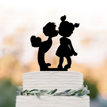 two kids in love Wedding Cake topper, silhouette birthday cake topper, boy kissing the girl wedding cake topper birthday gift