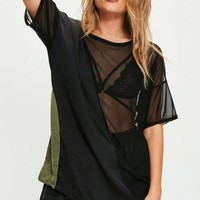 Missguided - Black Mesh Panel Mix T Shirt