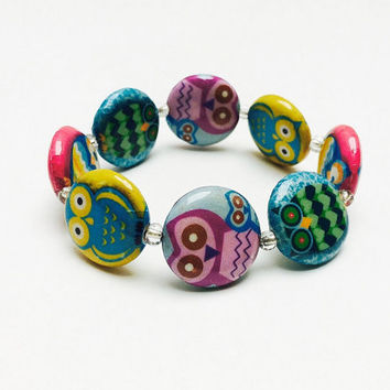 Owl bracelet, beaded bracelet, decoupage beads, colorful jewelry, cute owl, elastic bracelet