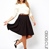 ASOS CURVE Midi Skirt With Belt at asos.com