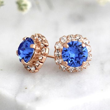 Blue Earrings, Blue Royal Earrings, Bridal Blue Earrings, Sapphire Blue Stud Earrings, Bridesmaids Earrings, Gift For Her, Swarovski Studs
