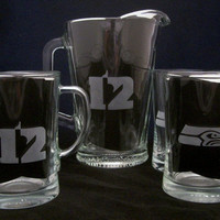 Seattle Seahawks 12th man Beer Pitcher Beer Mugs fathers day gifts, birthday gifts, seahawks gifts