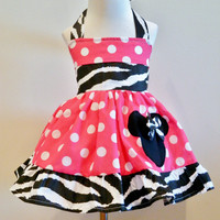 Girls Custom boutique Minnie Mouse Halter Hot Pink Large Dots Dress Size from 12M to 6Y