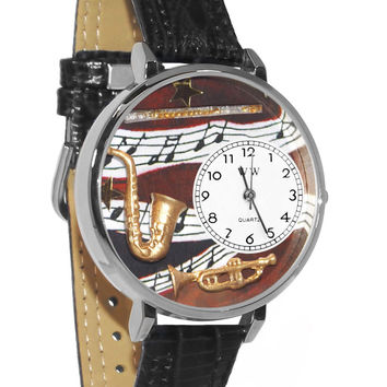 Whimsical Watches Designed Painted Wind Instruments Black Skin Leather And Silvertone Watch