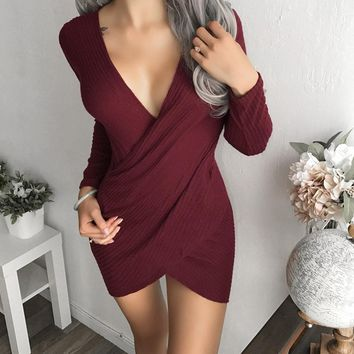 Red V-neck Wrap  Long-sleeved Mini Dress