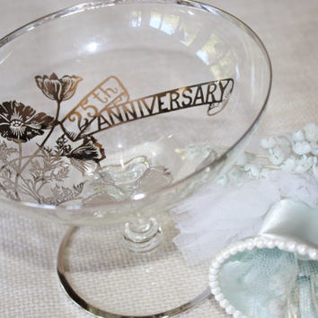 25th Wedding Anniversary Glass Pedestal Bowl / Silver Overlay Glass
