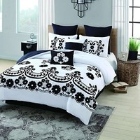 Geneva Home Fashion 8-Piece Sierra Flocked Comforter, Queen, Black/White